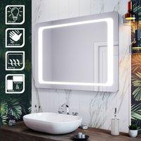LED Illuminated Bathroom Mirror with Light 1000 x 700 mm Infrared Sensor + Demister - Elegant