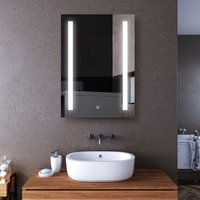ELEGANT LED Illuminated Bathroom Mirror with Light 500 x 700 mm Sensor + Demister + Shaver Socket