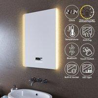 LED Illuminated Bathroom Mirror with Light 600x800mm Sensor + Demister + Shaver Socket +Dual Side Light Color Adjustable - Elegant