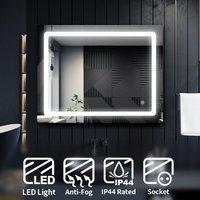 LED Illuminated Bathroom Mirror with Light 900 x 700 mm Sensor + Demister + Shaver Socket - Elegant