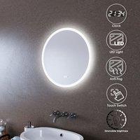 ELEGANT LED Illuminated Bathroom Mirror with Light 600 x 600 mm Sensor + Demister + Clock Display
