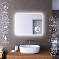 LED Illuminated Bathroom Mirror with Light 900 x 700 mm Infrared Sensor + Demister + Shaver Socket + Magnifying + Clock Display - Elegant