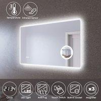 LED Illuminated Bathroom Mirror with Light 1000 x 600 mm Infrared Sensor + Demister + Shaver Socket + Magnifying + Clock Display - Elegant