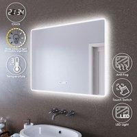 LED Illuminated Bathroom Mirror with Light 900 x 700 mm Sensor + Demister + Clock Temperature Display + Three Color Mode - Elegant