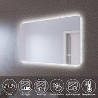 LED Illuminated Bathroom Mirror with Light 1000 x 600 mm Sensor + Demister + Clock Temperature Display - Elegant