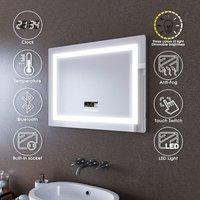 LED Illuminated Bathroom Mirror with Light 800 x 600 mm Sensor + Demister + Bluetooth Audio + Shaver Socket + Temperature Display - Elegant