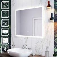 LED Illuminated Bathroom Mirror with Light 600 x 500 mm Sensor + Demister + Bluetooth Audio - Elegant