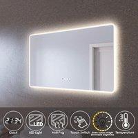 LED Illuminated Bathroom Mirror with Light 1000 x 600 mm Sensor + Demister + Clock Temperature Display + Three Color Mode - Elegant