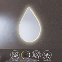 LED Illuminated Bathroom Mirror with Light Sensor + Demister 600 x 800mm Three Colors of your Choice - Elegant
