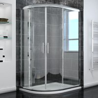 ELEGANT Left Quadrant Shower Enclosure 1000 x 800 mm Sliding Glass Walk in Cubicle Door with Tray + Waste