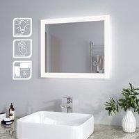 Mirror 600 x 500 mm LED Illuminated Bathroom Mirror Light Touch Sensor Horizontal Vertical - Elegant