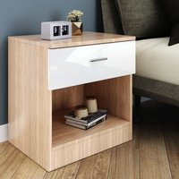 ELEGANT Modern High Gloss Bedside Cabinet Night Stand Storage Shelf with Bin Drawer White/Oak