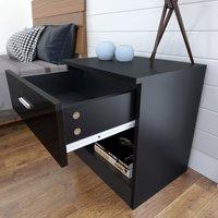ELEGANT Modern High Gloss Bedside Cabinet Night Stand Storage Shelf with Bin Drawer, for Bedroom or Home Storage Organizer, Black