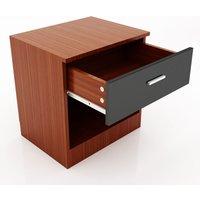 Modern High Gloss Bedside Cabinet Night Stand Storage Shelf with Bin Drawer, for Bedroom or Home Storage Organizer, Black/Walnut - Elegant