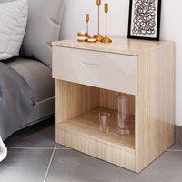 ELEGANT Modern High Gloss Bedside Cabinet Night Stand Storage Shelf with Bin Drawer, for Bedroom or Home Storage Organizer, CREAM/OAK