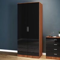 ELEGANT Modern High Gloss Soft Close 2 Doors Wardrobe with Metal Handles Includes a removable hanging rod and storage shelves Black/Walnut