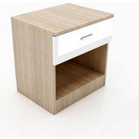 Modern High Gloss Wardrobe and Cabinet Furniture Set Bedside Cabinet Night Stand Storage only, White/Oak - Elegant
