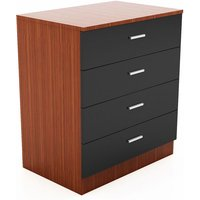 Modern High Gloss Wardrobe and Cabinet Furniture Set 4 Spacious Drawer Chest only, Black/Walnut - Elegant