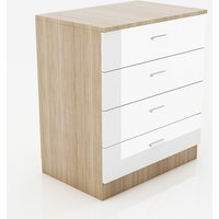Modern High Gloss Wardrobe and Cabinet Furniture Set 4 Spacious Drawer Chest only, White/Oak - Elegant
