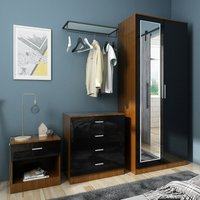 Modern High Gloss Wardrobe and Cabinet Furniture Set 2 Doors Wardrobe and 4 Drawer Chest and Bedside Cabinet, Black/Walnut, with Mirror - Elegant