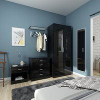 Modern High Gloss Wardrobe and Cabinet Furniture Set 2 Doors Wardrobe and 4 Drawer Chest and Bedside Cabinet, Black - Elegant