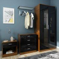 Modern High Gloss Wardrobe and Cabinet Furniture Set 2 Doors Wardrobe and 4 Drawer Chest and Bedside Cabinet, Black/Walnut - Elegant