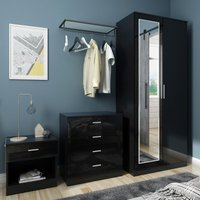 Modern High Gloss Wardrobe and Cabinet Furniture Set 2 Doors Wardrobe and 4 Drawer Chest and Bedside Cabinet, Black, with Mirror - Elegant