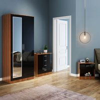 ELEGANT Modern High Gloss Wardrobe and Cabinet Furniture Set Bedroom 2 Doors Wardrobe and 4 Drawer Chest and Bedside Cabinet Black/Walnut with Mirror