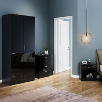 Modern High Gloss Wardrobe and Cabinet Furniture Set Bedroom 2 Doors Wardrobe and 4 Drawer Chest and Bedside Cabinet Black - Elegant