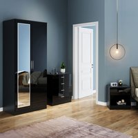 ELEGANT Modern High Gloss Wardrobe and Cabinet Furniture Set Bedroom 2 Doors Wardrobe and 4 Drawer Chest and Bedside Cabinet Black with Mirror