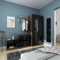 Modern High Gloss Wardrobe and Cabinet Furniture Set Bedroom 2 Doors Wardrobe and 4 Drawer Chest and Bedside Cabinet, Black/Walnut - Elegant