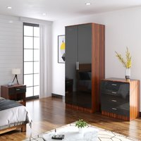 ELEGANT Modern High Gloss Wardrobe and Cabinet Furniture Set Bedroom 2 Doors Wardrobe and 4 Drawer Chest and Bedside Cabinet, Black/Walnut