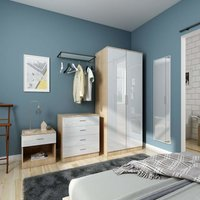 Modern High Gloss Wardrobe and Cabinet Furniture Set Bedroom 2 Doors Wardrobe and 4 Drawer Chest and Bedside Cabinet, White/Oak - Elegant
