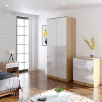 Modern High Gloss Wardrobe and Cabinet Furniture Set Bedroom 2 Doors Wardrobe and 4 Drawer Chest and Bedside Cabinet, White/Oak - Elegant