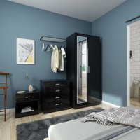 ELEGANT Modern High Gloss Wardrobe and Cabinet Furniture Set Bedroom 2 Doors Wardrobe with Mirror and 4 Drawer Chest and Bedside Cabinet, Black