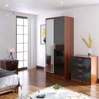 Modern High Gloss Wardrobe and Cabinet Furniture Set Bedroom 2 Doors Wardrobe with Mirror and 4 Drawer Chest and Bedside Cabinet, Black/Walnut