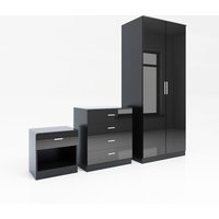 ELEGANT Modern High Gloss Wardrobe and Cabinet Furniture Set Bedroom Wardrobe and 4 Drawer Chest and Bedside Cabinet, Black