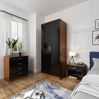 Modern High Gloss Wardrobe and Cabinet Furniture Set Bedroom Wardrobe and 4 Drawer Chest and Bedside Cabinet, Black/Walnut - Elegant