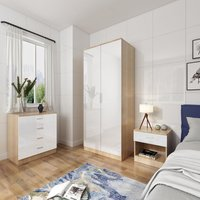Modern High Gloss Wardrobe and Cabinet Furniture Set Bedroom Wardrobe and 4 Drawer Chest and Bedside Cabinet, White/Oak - Elegant