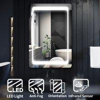Modern LED Illuminated Bathroom Mirror with Light 900 x 600mm Frontlit + Demister Pad, Sensor - Elegant