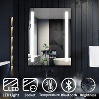 Modern LED Illuminated Bathroom Mirror with Light 600x800mm Anti-Fog Clock Function Bluetooth Audio Shaver Socket, Touch Control - Elegant