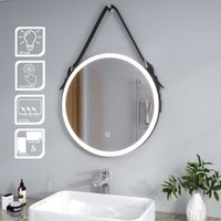 ELEGANT Modern LED Illuminated Bathroom Mirror with Light 600x600mm Belt Decorative Round, Dustproof and Anti-fog,Cool White Light, Sensor Touch control