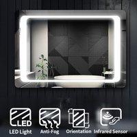 Modern LED Illuminated Bathroom Mirror with Light 1000 x 700 mm + Demister Pad, Sensor - Elegant