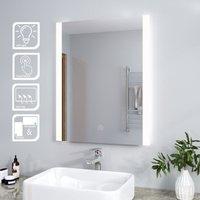 Modern LED Illuminated Bathroom Mirror with Light 800 x 600mm + Demister Pad Vertical, Touch Sensor - Elegant