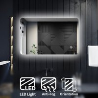 Modern LED Illuminated Bathroom Mirror with Light 800 x 500mm Backlit + Demister l, Touch Sensor - Elegant