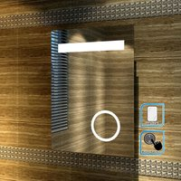 ELEGANT Modern LED Illuminated Bathroom Mirror with Light 500 x 700 mm Shaver Socket Magnifying Mirror, Button Switch