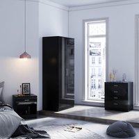 Modern Wardrobe and Cabinet Furniture Set Bedroom 2 Doors Wardrobe and 4 Drawer Chest and Bedside Cabinet, Black - Elegant