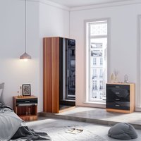 Modern Wardrobe and Cabinet Furniture Set Bedroom 2 Doors Wardrobe and 4 Drawer Chest and Bedside Cabinet, Black/Walnut - Elegant