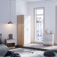 ELEGANT Modern Wardrobe and Cabinet Furniture Set Bedroom 2 Doors Wardrobe and 4 Drawer Chest and Bedside Cabinet, White/Oak