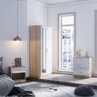 ELEGANT Modern Wardrobe and Cabinet Furniture Set Bedroom 2 Doors Wardrobe with Mirror and 4 Drawer Chest and Bedside Cabinet, White/Oak